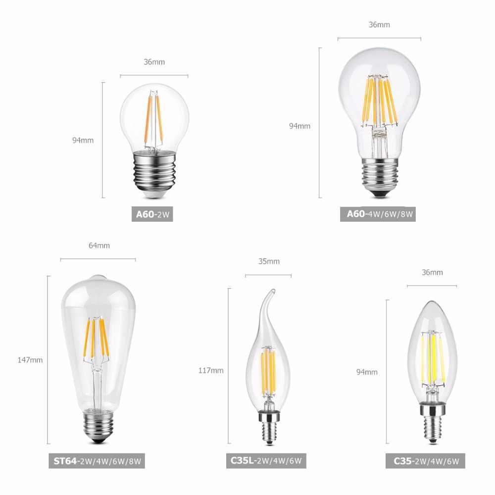 Ampoule à Filament LED E27 rétro Edison lampe 220 V E14 Vintage bougie ampoule lustre remplacer 20 w 40 w 60 w 80 w ampoule à incandescence