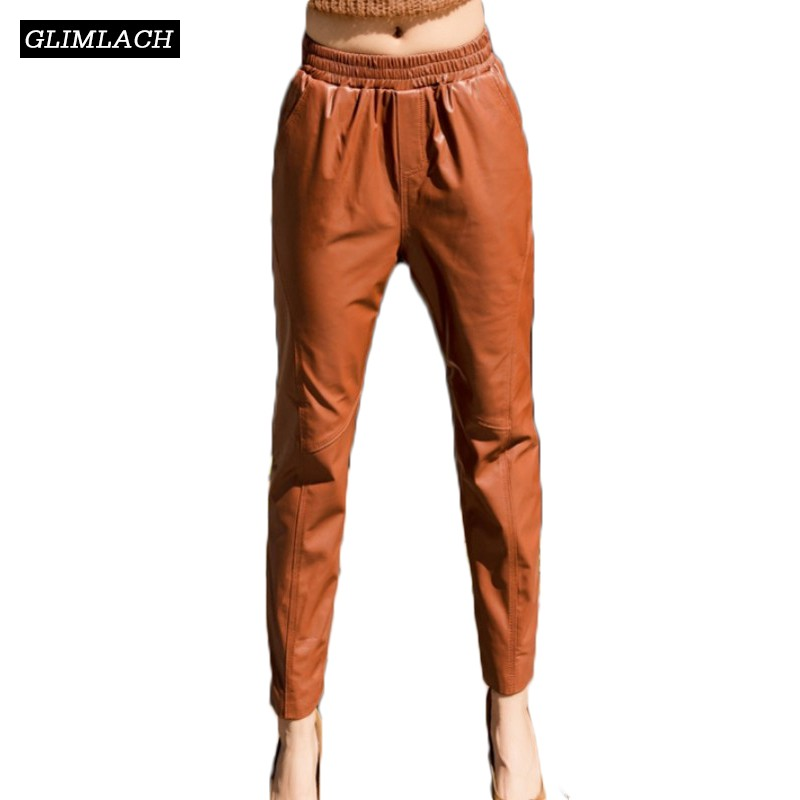 Elástica Longitud Black Oveja brown Piel Lujo Cintura Pantalones Nuevos Genuino Tamaño De Tobillo Mujeres Dama Las Lápiz purple Gran Cuero 6RBwPWTqW