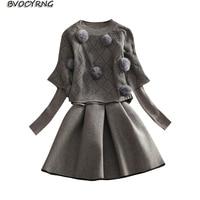 New Autumn Winter Women Two piece Dress Round Collar Fashion Loose Tops + Long sleeved Knitt Dress Winter Bottom Dresses A0196