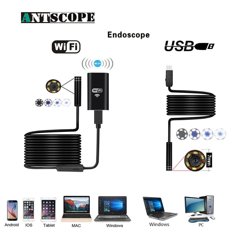Antscope Wifi Endoskop 8mm 2/5/7/10 mt Wasserdichte Softwire Android 720 p HD iOS Endoscopio 7mm USB Kamera Inspektion Boroscopio 19