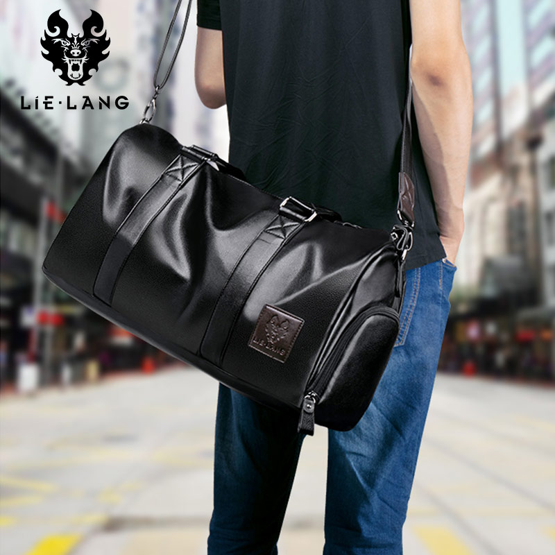 LIELANG Leather Handbag Men Travel Bag Waterproof Large Capacity Travel Bag Duffle Bag Multifunction Tote Casual Crossbody