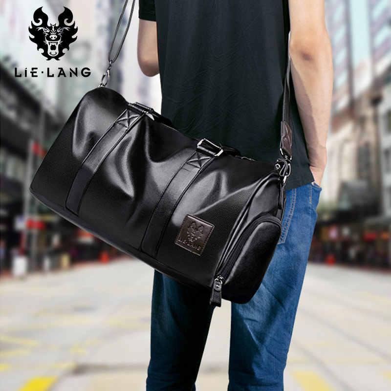 LIELANG bolso de cuero para hombre bolsa de viaje impermeable de gran capacidad bolsa de viaje bolsa de lona multifunción bolso bandolera Casual