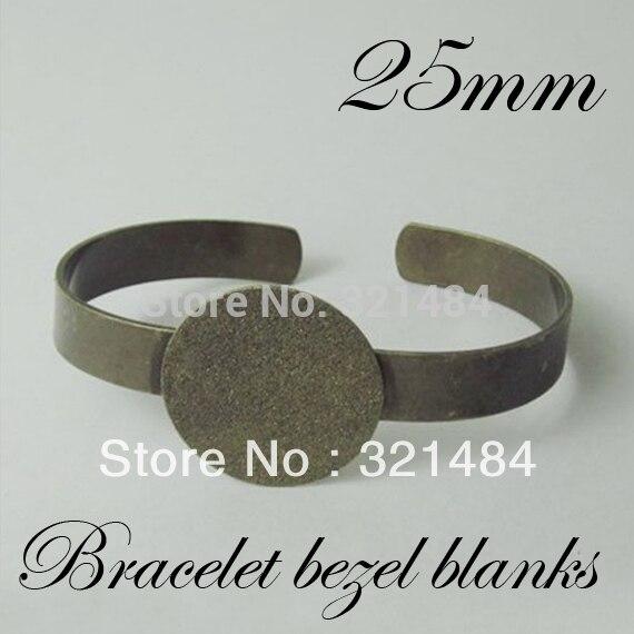 100pcs Antique Bronze Br Metal Cuff Bracelet Blanks W 25mm Round Flat Pad Bezels Cameo