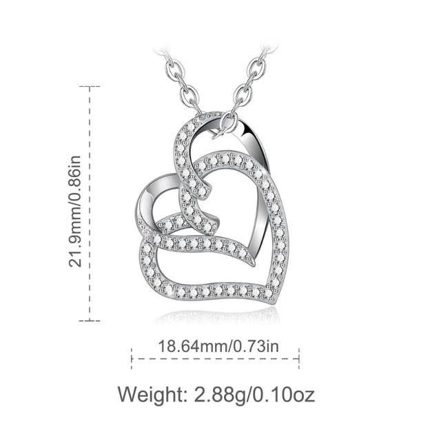 925 Sterling Silver Hearts Clear CZ Pendant Necklace