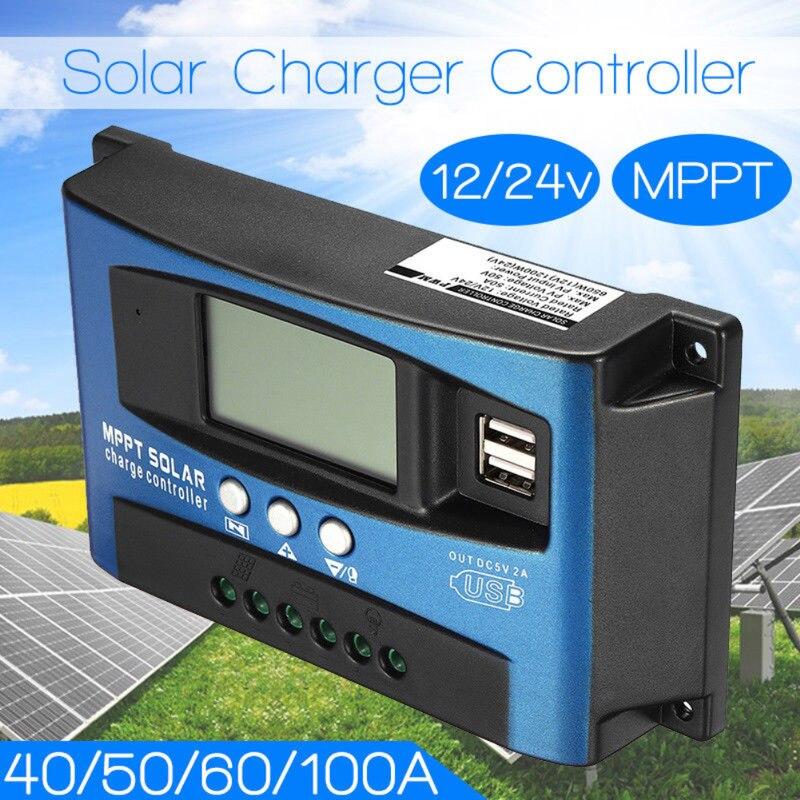 MPPT 30/40/50/60/100A Solar Laderegler Dual USB LCD Display 12 V 24 V Auto Solarzelle Panel Ladegerät Regler mit Last
