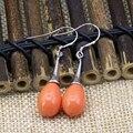 Elegant 9*13mm waterdrop orange baking paint glass beads dangle earrings for women long drop eardrop hot sale diy jewelry B3160