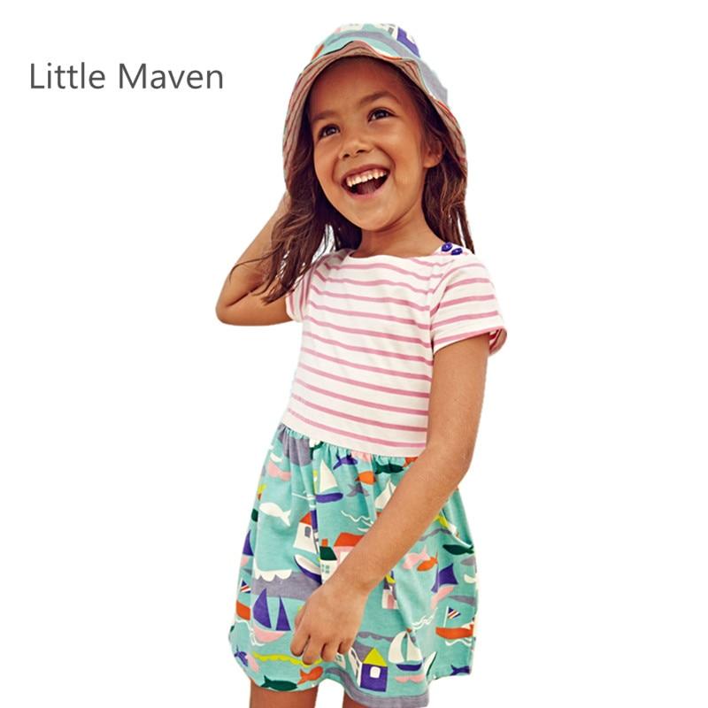 Маленький Maven Новий Літній Дівчата Короткий Смугастий Лоскутне Коротким Рукавом O-подібним вирізом М'які Трикотажні Бавовняні Причинний пляжні сукні  t