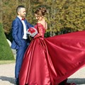 Red Long Sleeve Wedding Dresses With Lace Appliques Sheer Scoop Satin Long A Line Wedding Gowns Plus Size Beide Bridal Dress