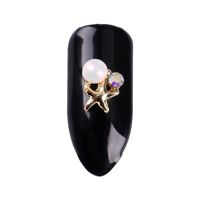 10Pcs Shining Rhinestones Nails Supplies Gold Starfish Pattern And Beauty  Pearl Design 3D Nail Art Decoration TN2224 d8a673ffedda