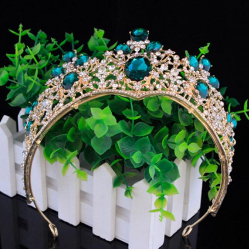 Барокко красный золотая корона тиара свадебные аксессуары для волос глава ювелирные изделия Большая Винтаж король и queen Принцесса Корона Л...