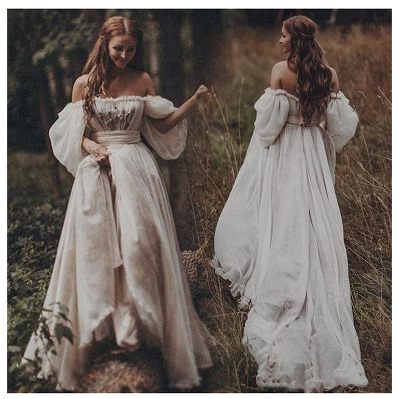 LORIE Off The Shoulder Princess Wedding Dress Sweetheart Appliqued Puff Sleeves Bride Dress A-Line Backless Boho Wedding Gown