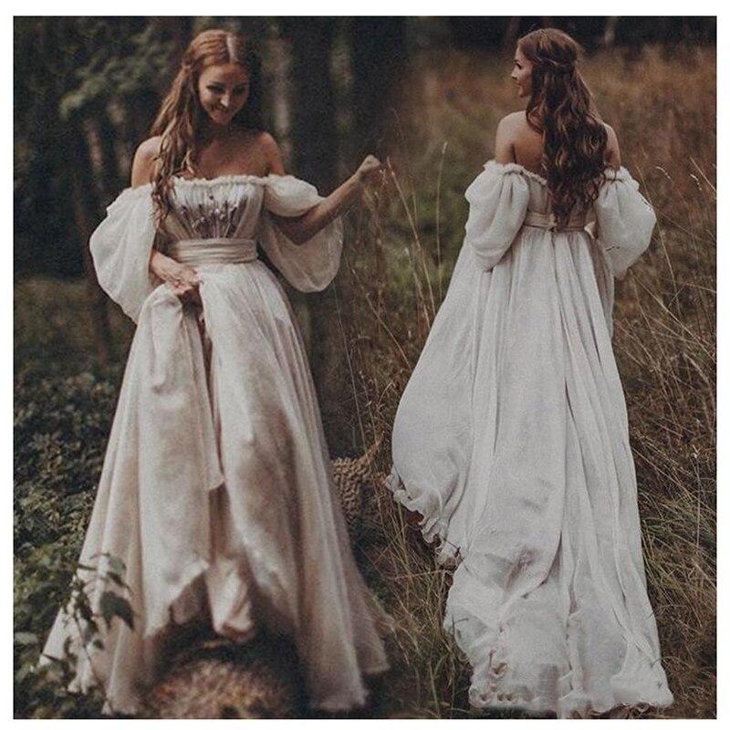 Платье с вырезом лодочкой LORIE, платье для свадьбы с милыми рукавами фонариками, а силуэта, с открытой спинкой, свадебное платье в богемном стиле Свадебные платья      АлиЭкспресс