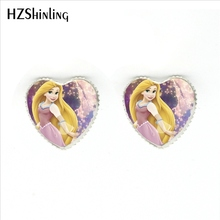HER-0024 Новая мода круглый стеклянный кабошон красивые серьги принцессы Рапунцель стеклянные кабошон сердце серьги-гвоздики для девочек