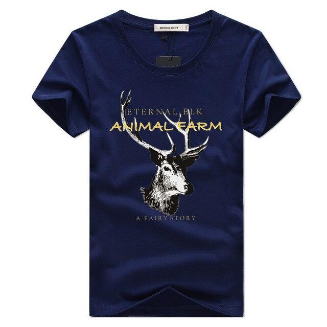 42d9045d18e0 WONDLOUM 2017 New Fashion Men's Elk Animal Designer Short T-shirt Wholesale  Brand Summer Half Sleeve Casual Shirt Plus Size 3XL