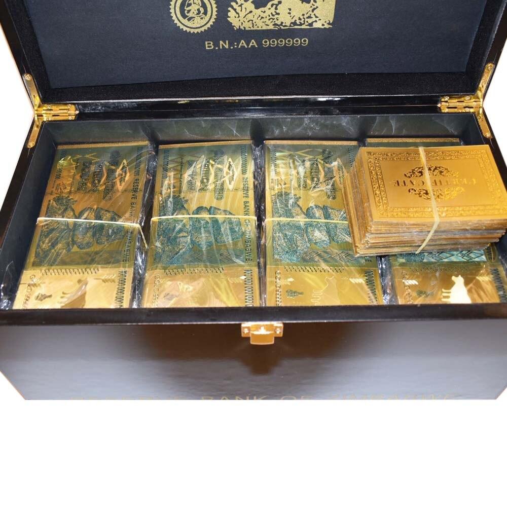 1000 pcs Zimbabwe Billet D'or avec Le Zimbabwe Boîte En Bois Décoratifs pour La Maison Cent Trillion Dollar 24 k Or Plaqué Argent cadeaux