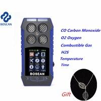 Многофункциональный детектор газа CO Угарный газ кислорода O2 H2S горючий газ монитор Звук легкий шок сигнализации детектор утечки газа