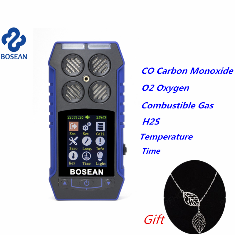 цена Multifunctional Gas Detector CO Carbon Monoxide Oxygen O2 H2S Combustible Gas Monitor Sound Light Shock Alarm Gas Leak Detector