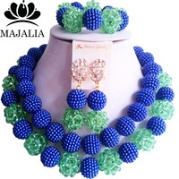 Fashion Nigeria Wedding blue african beads jewelry set Crystal Plastic pearl necklace Bridal Jewelry Sets Free shipping VV 086