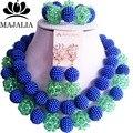 Moda azul beads africanos conjunto de jóias de Cristal De Casamento Nigéria VV-086 Plástico colar de pérolas Conjuntos De Jóias de Noiva Frete grátis