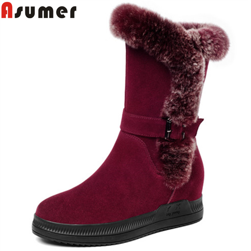ASUMER 2018 fashion autumn winter boots round toe zip buckle mid calf boots heigh increasing suede leather boots platform рулонная штора волшебная ночь 140x175 стиль прованс рисунок emma