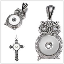 5pcs/lot Necklace Snap Jewelry Owl Cross Pendant Women Fashion Party Accessory Wife Daughter Girl Friend Birthday DIY Gift