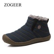 Zogeer/Большие размеры 38–46 Мужские ботинки, высокое качество Водонепроницаемый холст дождь Сапоги и ботинки для девочек для Для мужчин, зима теплая пушистая Для мужчин S ботильоны