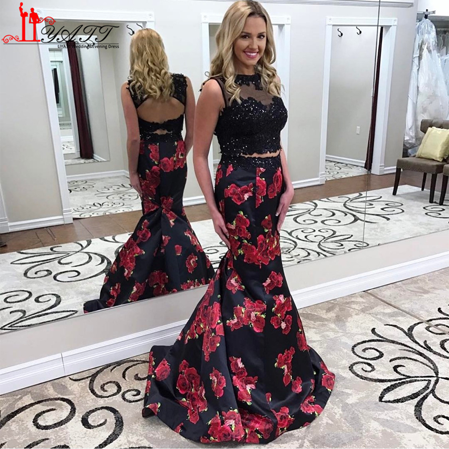 790630c9b68e Two Pieces Black Beaded Lace Floral Sexy Mermaid Evening Dresses Flower  Printed Floor Length Long Prom Dress Party Gown 2017