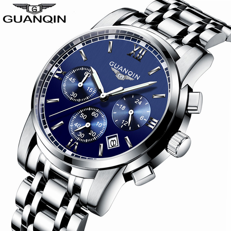 relogio masculino New GUANQIN Mens Watches Top Brand Luxury Chronograph Luminous Clock Men Business Stainless Steel Quartz Watch watches men luxury brand chronograph quartz watch stainless steel mens wristwatches relogio masculino clock male hodinky