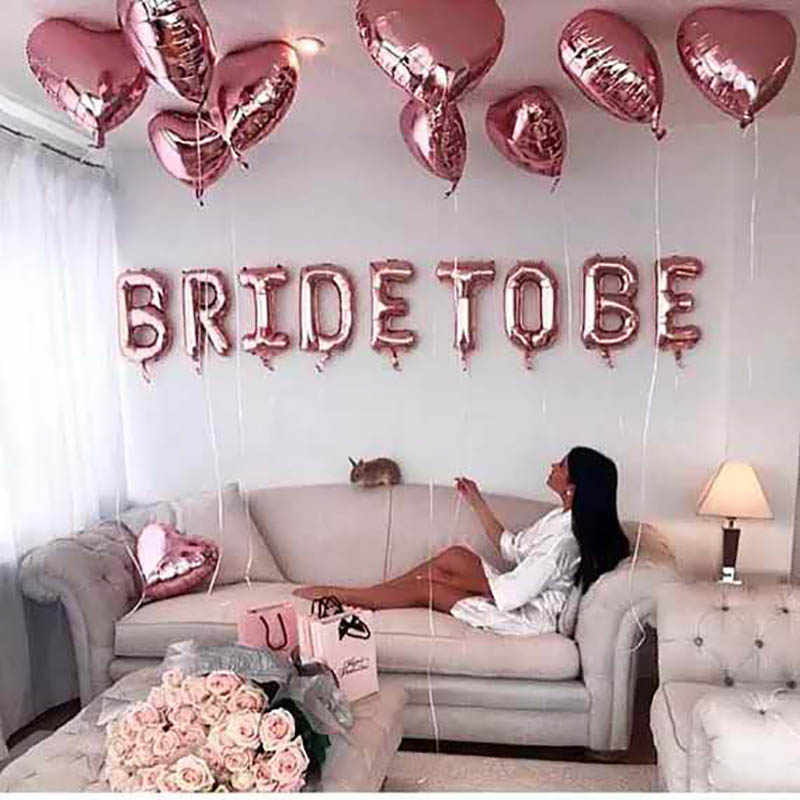 Braut Zu Werden Ballons Rose Gold Party Dekoration Krone Miss Zu Mrs Ballon Team Braut Zu Werden Hen Bachelor Party dekoration Supplie