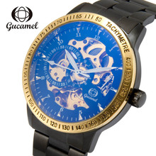 GUCAMEL luxury watch elegant black magic color face automatic fashion stainless steel mechanical business mens