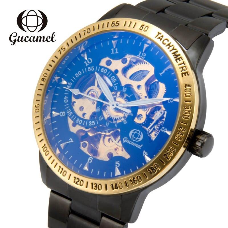 GUCAMEL montre de luxe élégant noir magique couleur visage automatique mode en acier inoxydable mécanique montre d'affaires montre pour hommes