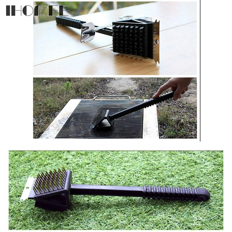 Multifuction Non-stick Copper Wire BBQ Grill Brush Long Handle Stainless Steel Barbecue Grill Oven Cleaning Brush Cleaner F23D15