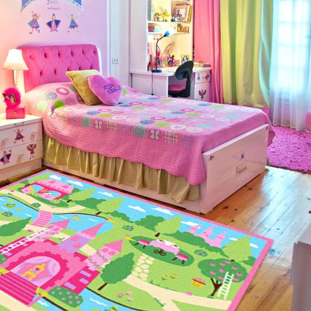 Cartoon Castle Girls Bedroom Rugs,Delicate Little Flowers Bedroom Floor Rugs,Cute Colorful Cartoon Kids Living Room Carpet