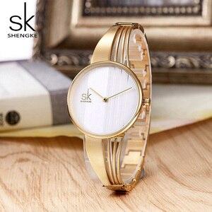 Image 4 - Shengke Luxury Rose Gold Women Bracelet Watches Ladies Creative Quartz Watch Montre Femme 2019 SK Women Wrist Watch #K0062