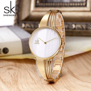 Image 4 - Shengke, relojes de pulsera lujosos de oro rosa para mujer, reloj de cuarzo creativo para mujer, reloj de pulsera para mujer 2019 SK # K0062