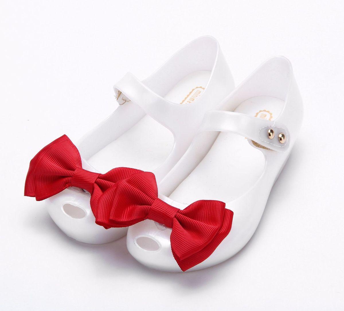 2018 Mini Melissa Cloth Bow Rain Shoes New Summer 2 Layer Shoe Girls Low-Top Sandal Nonslip Kids Soft Leather PVC Sandal