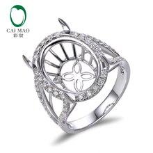 Caimao 11x15mm Oval Cut Semi Mount Setting Ring 14K White gold Natural 0.68ct Diamond Engagement Jewelry