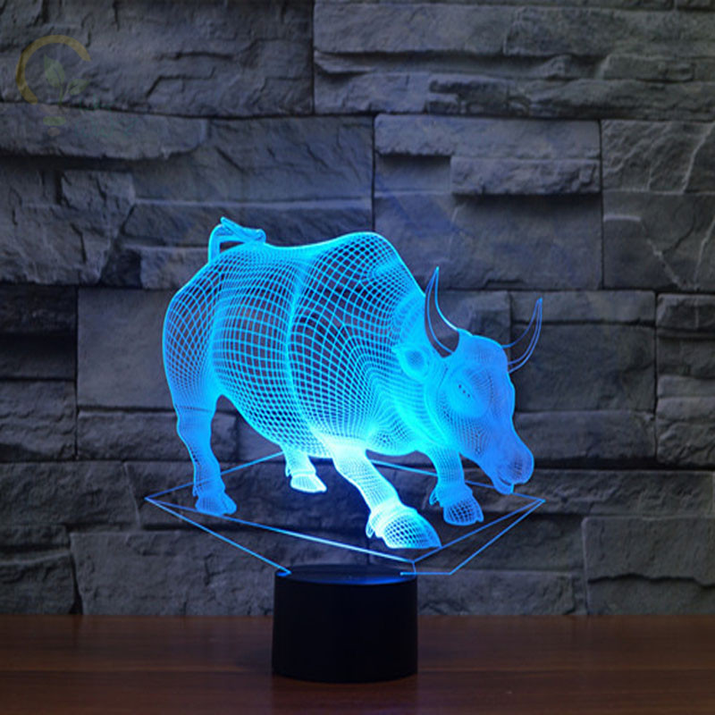 Creative 7 Colour Bull Shape Table Lamps USB Charge Led 3D Night Light Novelty Night Lamp Christmas Gifts for Kids