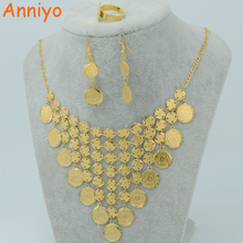Anniyo Arabian Coin set Jewelry Gold Color Middle East Necklace Bracelet Ring,Islam Vintage Coins set Wedding #050060