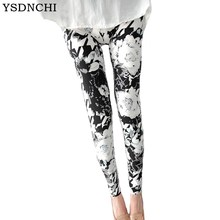 YSDNCHI2018 New Top Quality Print Flowers Casual Mid New Arrived Material Trousers Seamless Rose Flower Leggings for Women Pants