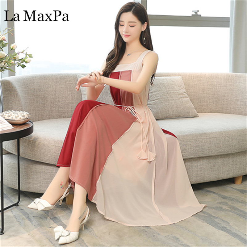 Womens Dresses New Arrival  Summer Retro Fashion Colorblock Dress Sling Sexy And Generous Women Slim Was Thin Clothes Vestidos