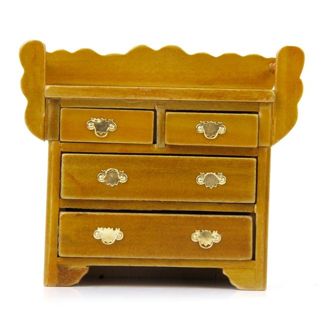 Nuevo 1/12 Dollhouse cajón pecho con 4 muebles cajón miniatura ...