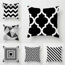 Fuwatacchi черно-белая Геометрическая стильная наволочка для подушки, наволочка для подушки с принтом в виде сетки, наволочка для дивана и автомобиля, декоративные наволочки