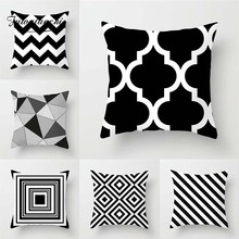 Fuwatacchi Black And White Geometric Style Cushion Cover Regular Connection Grid Printed Pillow Cover Sofa Car Decor Pillowcases цена в Москве и Питере