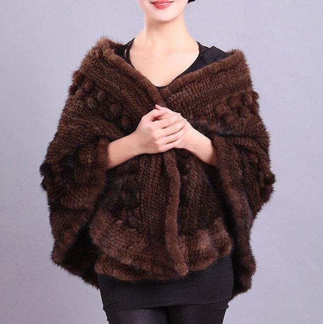 Ladies' Genuine Natural Knitted Mink Fur Shawls Handmade ...