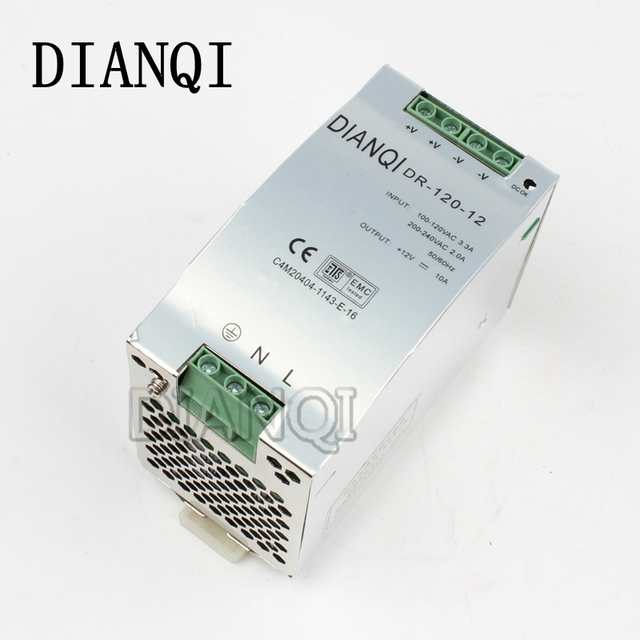 DIANQI Din rail power supply 120w 12V power suply 12v 120w power supply ac dc converter dr-120-12