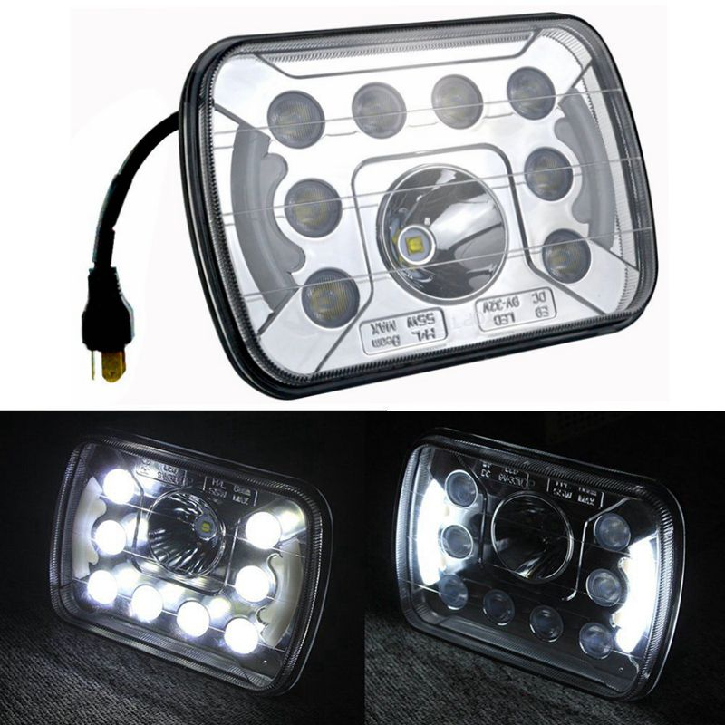 ФОТО 2pcs 55W H/L Beam 5x7 LED Headlights Insert with Angel Eyes for Jeep Truck