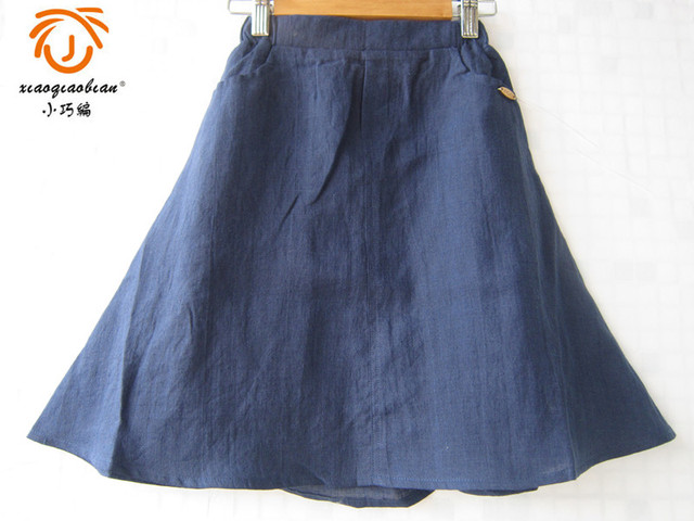 XQB 2016 blue casual preppy style school summer cotton long skirt brand girls skirts girls clothes 3 4 5 6 7 8 9 10 11 12 years