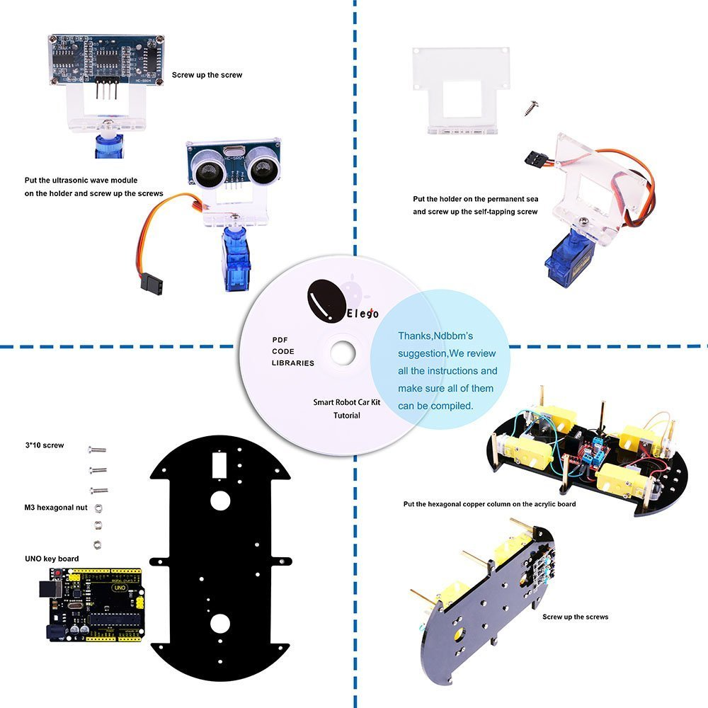 Project Smart Robot Car Kit For Arduino Uno With Ultrasonic Sensor