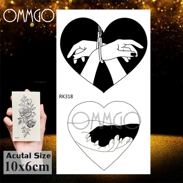 OMMGO Black Love Minimalist Adults Temporary Tattoos Sticker Small Fake Tattoo Gun Custom Tatoos For Women Sexy Body Art Arm 4